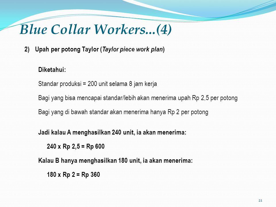 Blue Collar Workers...(4) Upah per potong Taylor (Taylor piece work plan) Diketahui: Standar produksi = 200 unit selama 8 jam kerja.