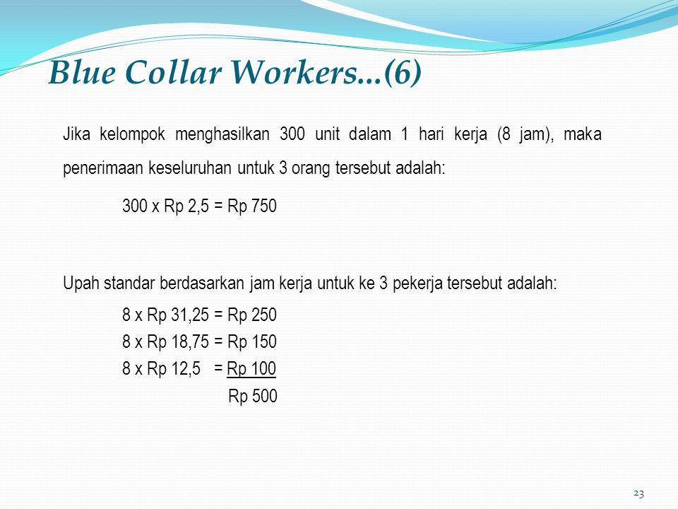 Blue Collar Workers...(6) Jika kelompok menghasilkan 300 unit dalam 1 hari kerja (8 jam), maka penerimaan keseluruhan untuk 3 orang tersebut adalah: