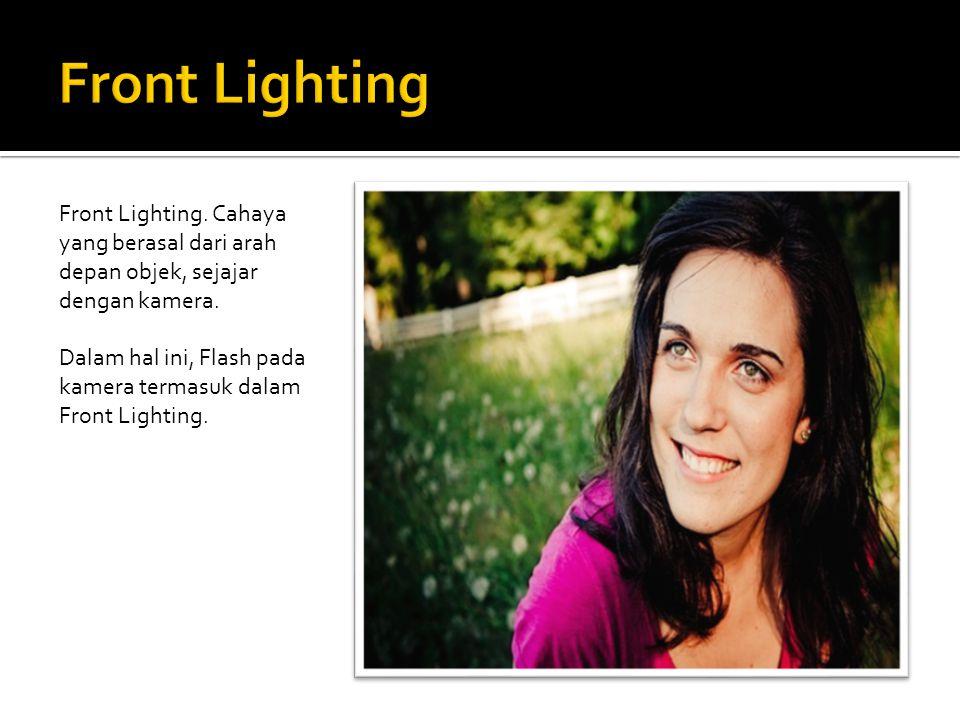 Front Lighting Front Lighting. Cahaya yang berasal dari arah depan objek, sejajar dengan kamera.