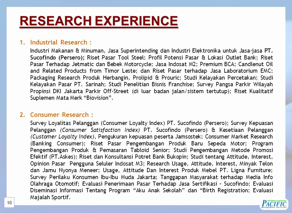 RESEARCH EXPERIENCE (continuous)