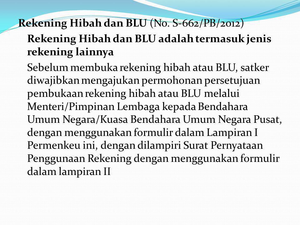 Rekening Hibah dan BLU (No. S-662/PB/2012)