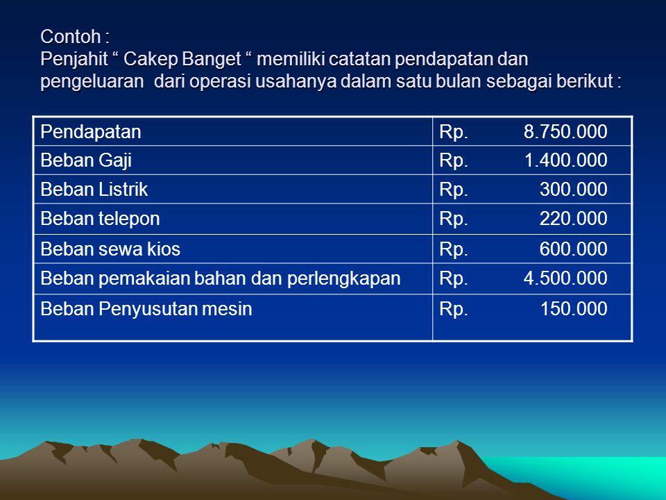 Contoh : Penjahit Cakep Banget memiliki catatan pendapatan dan pengeluaran dari operasi usahanya dalam satu bulan sebagai berikut :