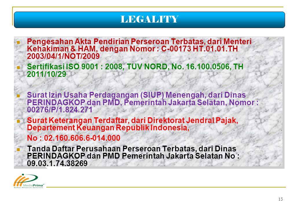 LEGALITY Pengesahan Akta Pendirian Perseroan Terbatas, dari Menteri Kehakiman & HAM, dengan Nomor : C-00173 HT.01.01.TH 2003/04/1/NOT/2009.