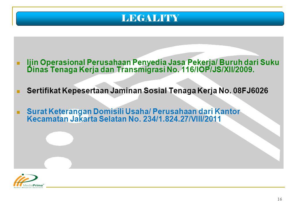 LEGALITY Ijin Operasional Perusahaan Penyedia Jasa Pekerja/ Buruh dari Suku Dinas Tenaga Kerja dan Transmigrasi No. 116/IOP/JS/XII/2009.