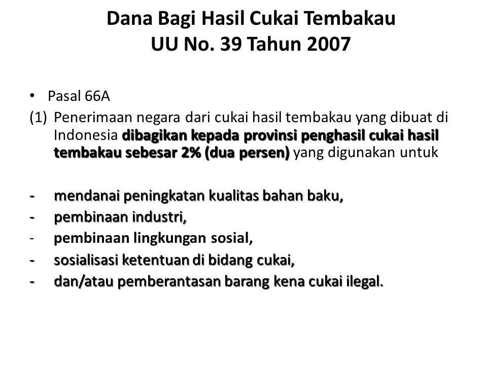 Dana Bagi Hasil Cukai Tembakau UU No. 39 Tahun 2007