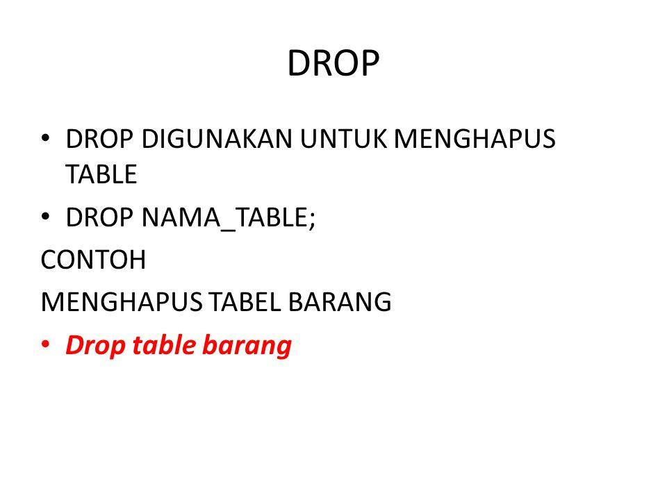 DROP DROP DIGUNAKAN UNTUK MENGHAPUS TABLE DROP NAMA_TABLE; CONTOH