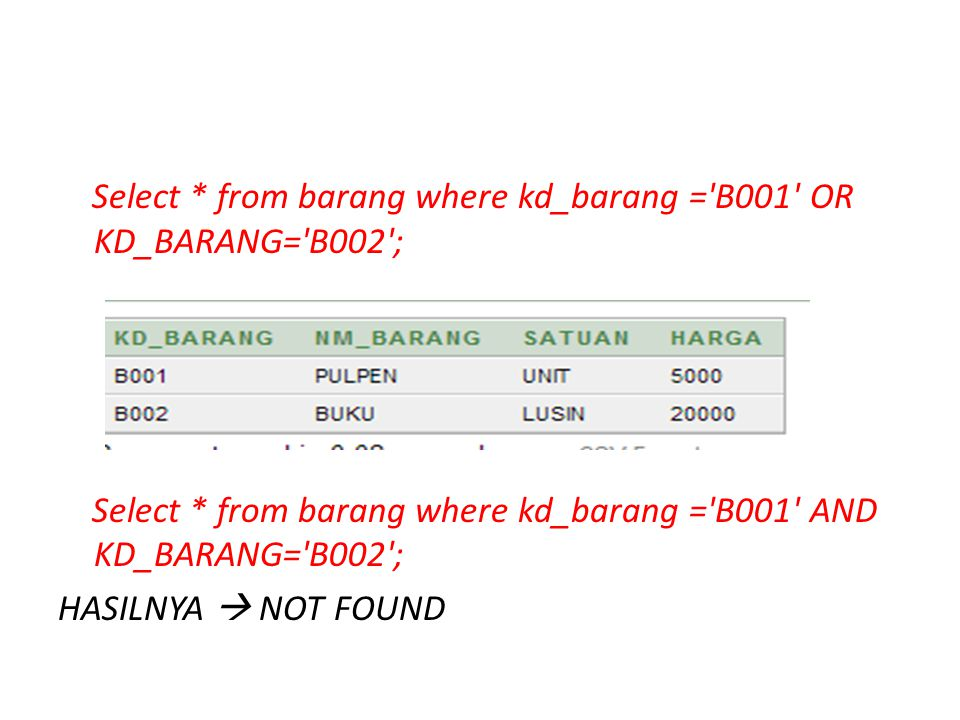 Select * from barang where kd_barang = B001 OR KD_BARANG= B002 ; Select * from barang where kd_barang = B001 AND KD_BARANG= B002 ; HASILNYA  NOT FOUND