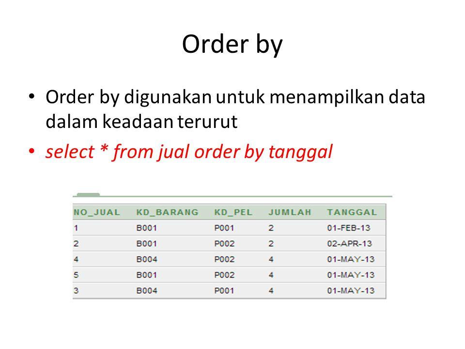 Order by Order by digunakan untuk menampilkan data dalam keadaan terurut.
