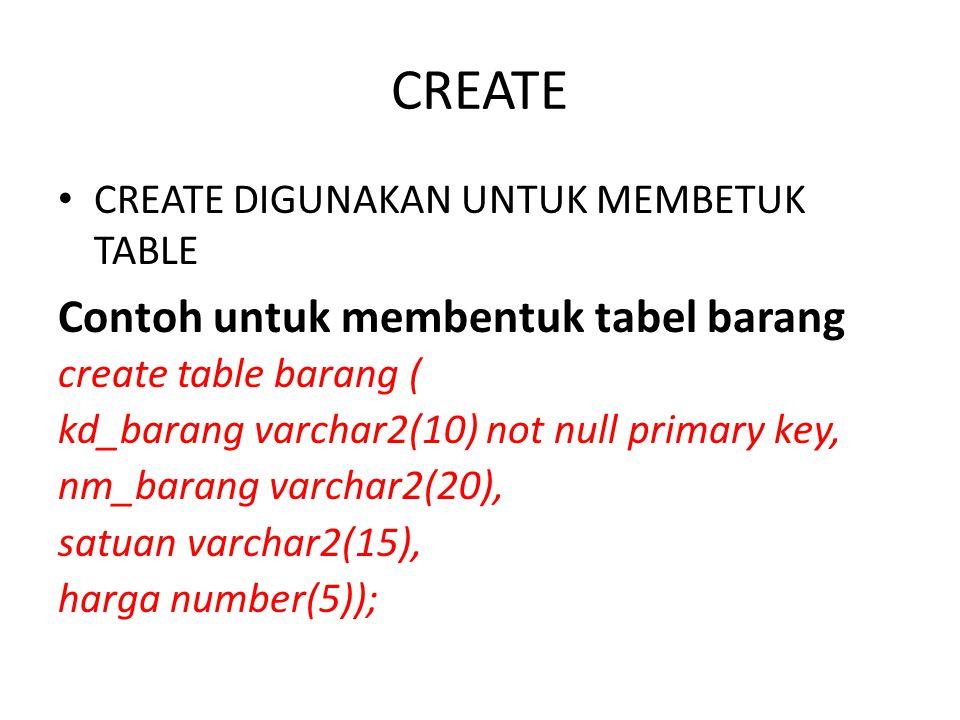CREATE Contoh untuk membentuk tabel barang