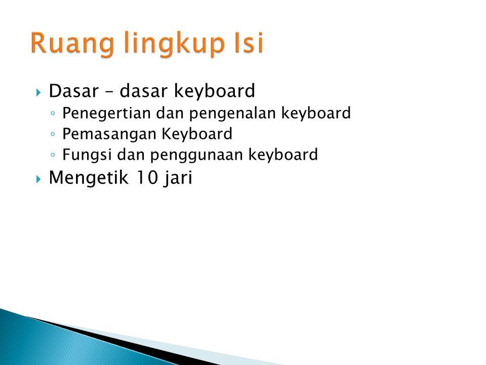 Ruang lingkup Isi Dasar – dasar keyboard Mengetik 10 jari