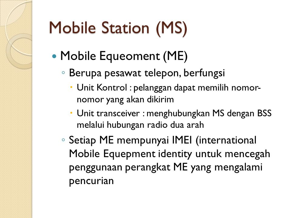 Mobile Station (MS) Mobile Equeoment (ME)