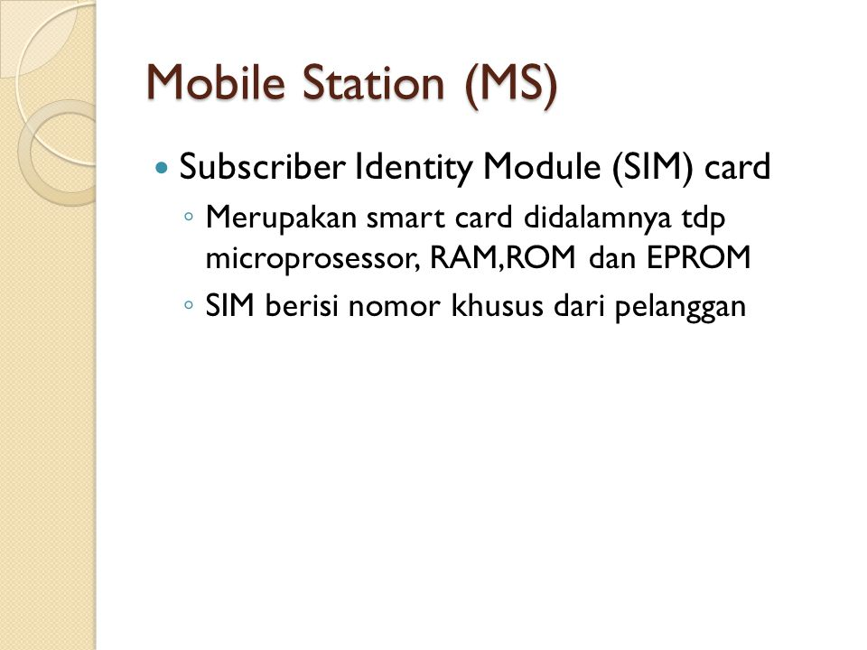 Mobile Station (MS) Subscriber Identity Module (SIM) card