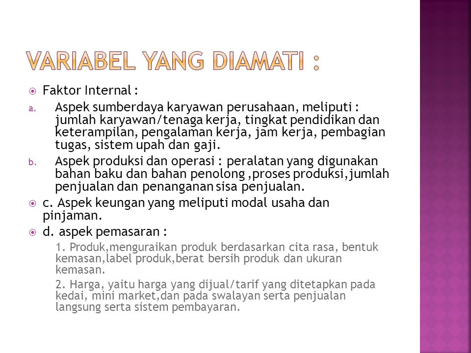 Variabel yang diamati :