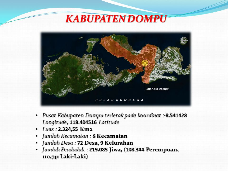 KABUPATEN DOMPU Pusat Kabupaten Dompu terletak pada koordinat :-8.541428 Longitude, 118.404516 Latitude.
