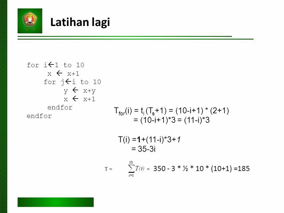 Latihan lagi Tfor(i) = ti (Ts+1) = (10-i+1) * (2+1)