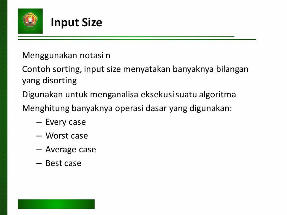 Input Size Menggunakan notasi n