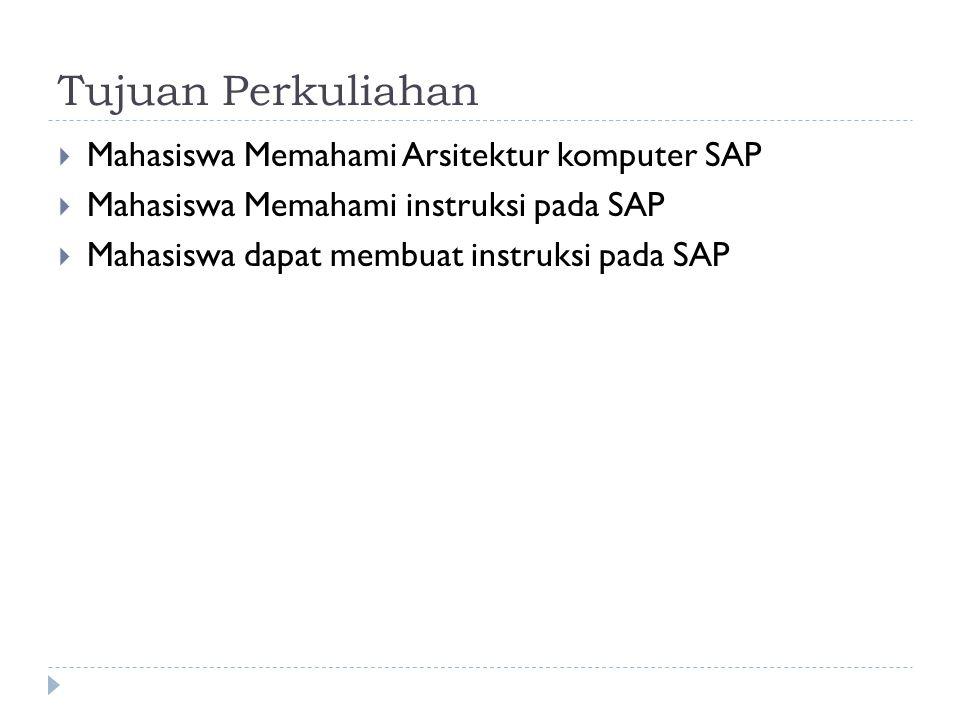 Tujuan Perkuliahan Mahasiswa Memahami Arsitektur komputer SAP