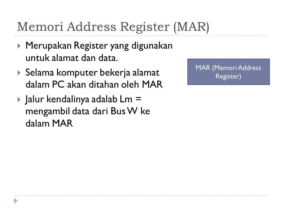 Memori Address Register (MAR)