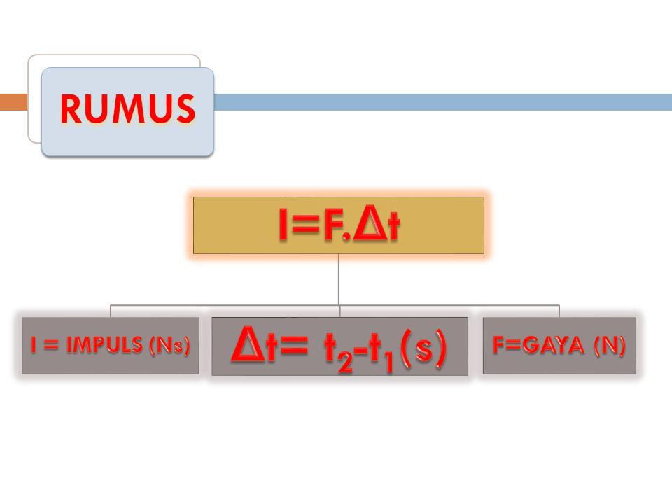 RUMUS I=F.Δt I = IMPULS (Ns) F=GAYA (N) Δt= t2-t1(s)