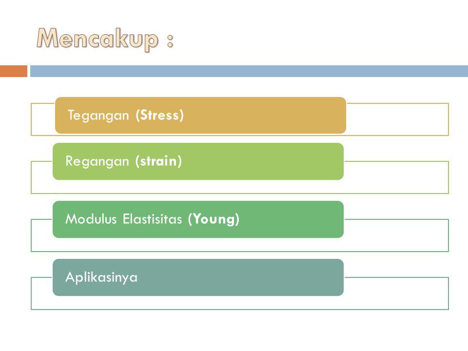 Mencakup : Tegangan (Stress) Regangan (strain)