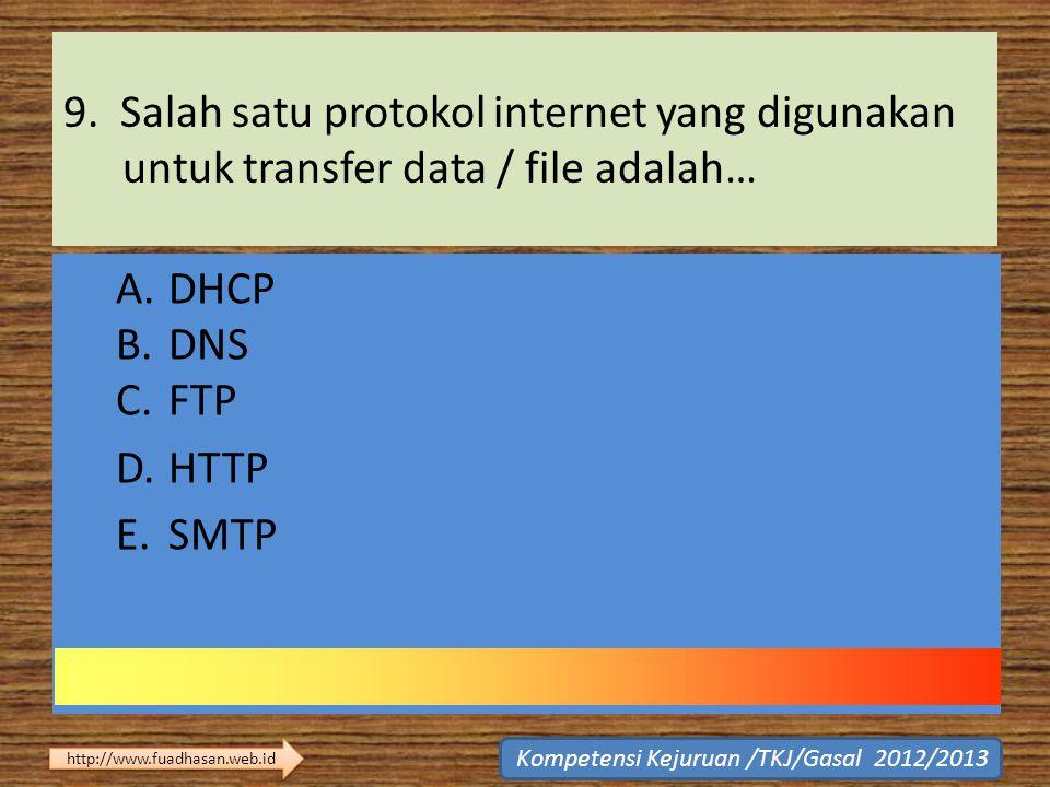 9. Salah satu protokol internet yang digunakan untuk transfer data / file adalah…