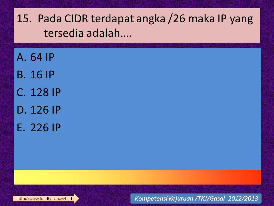15. Pada CIDR terdapat angka /26 maka IP yang tersedia adalah….