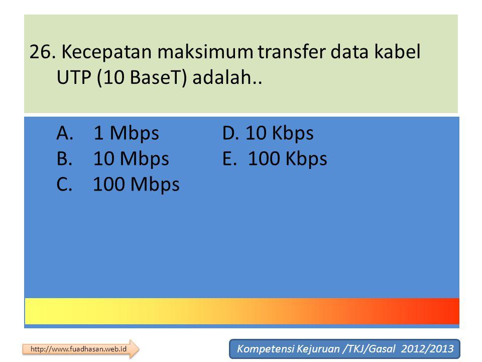 26. Kecepatan maksimum transfer data kabel UTP (10 BaseT) adalah..