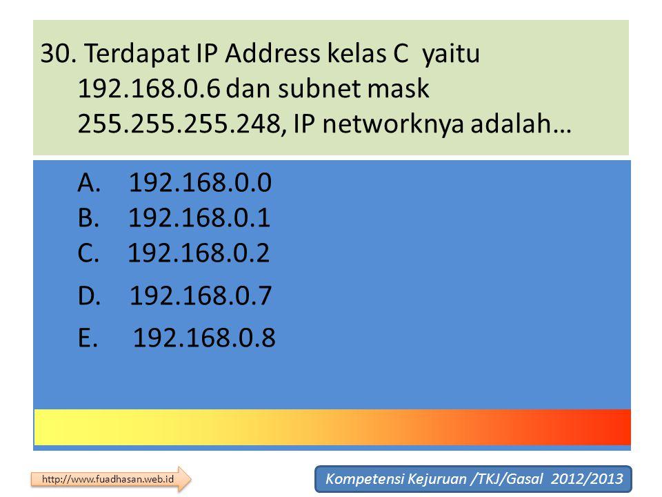 30. Terdapat IP Address kelas C yaitu 192. 168. 6 dan subnet mask 255