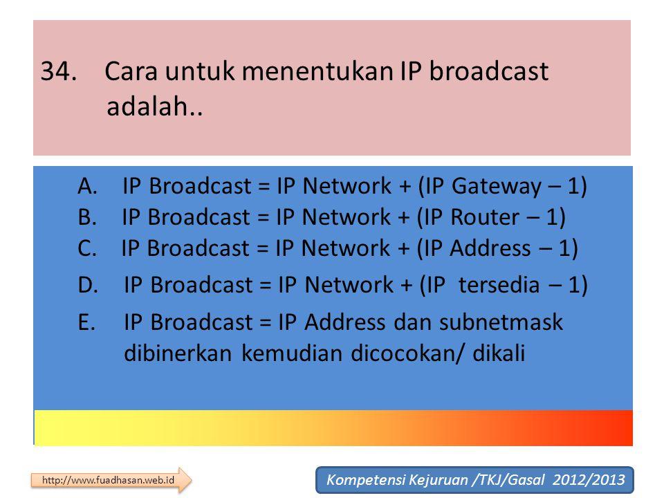 34. Cara untuk menentukan IP broadcast adalah..