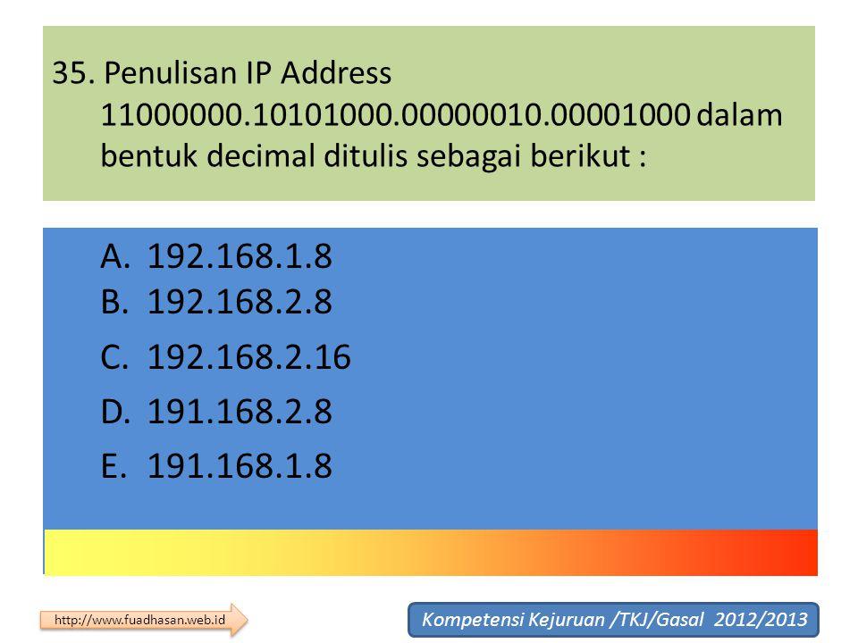 35. Penulisan IP Address 11000000.10101000.00000010.00001000 dalam bentuk decimal ditulis sebagai berikut :
