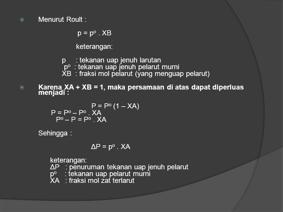 Menurut Roult : p = po . XB. keterangan: p : tekanan uap jenuh larutan. po : tekanan uap jenuh pelarut murni.