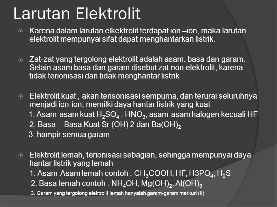 Larutan Elektrolit Karena dalam larutan elkektrolit terdapat ion –ion, maka larutan elektrolit mempunyai sifat dapat menghantarkan listrik.