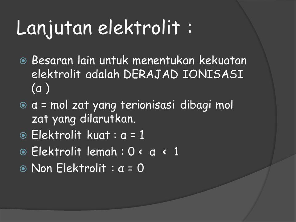 Lanjutan elektrolit : Besaran lain untuk menentukan kekuatan elektrolit adalah DERAJAD IONISASI (α )