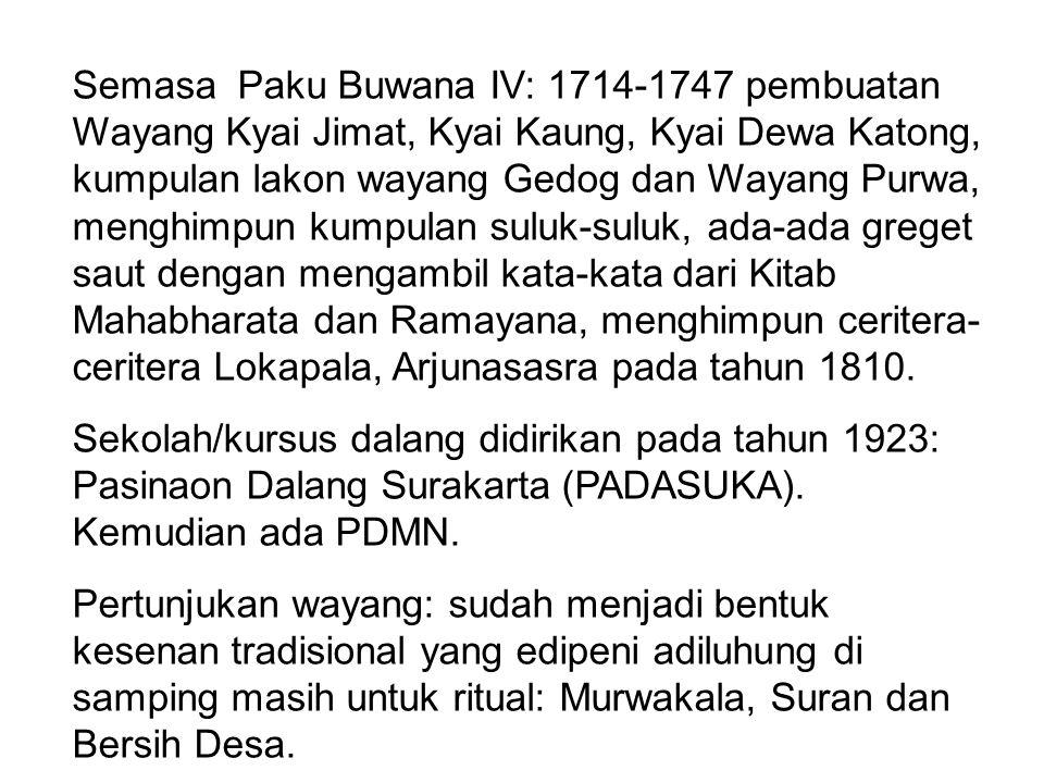 Semasa Paku Buwana IV: 1714-1747 pembuatan Wayang Kyai Jimat, Kyai Kaung, Kyai Dewa Katong, kumpulan lakon wayang Gedog dan Wayang Purwa, menghimpun kumpulan suluk-suluk, ada-ada greget saut dengan mengambil kata-kata dari Kitab Mahabharata dan Ramayana, menghimpun ceritera-ceritera Lokapala, Arjunasasra pada tahun 1810.