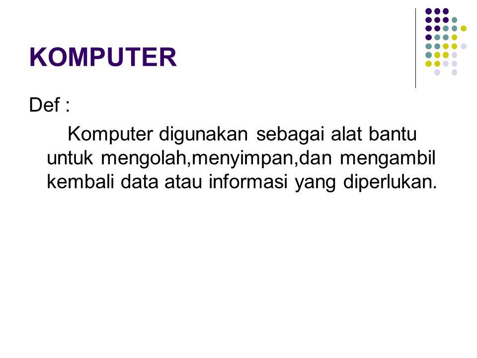KOMPUTER Def : Komputer digunakan sebagai alat bantu untuk mengolah,menyimpan,dan mengambil kembali data atau informasi yang diperlukan.