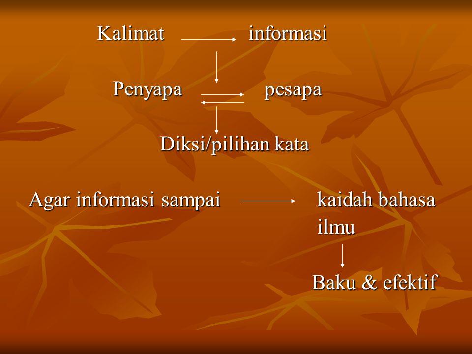 Kalimat informasi Penyapa pesapa. Diksi/pilihan kata. Agar informasi sampai kaidah bahasa.