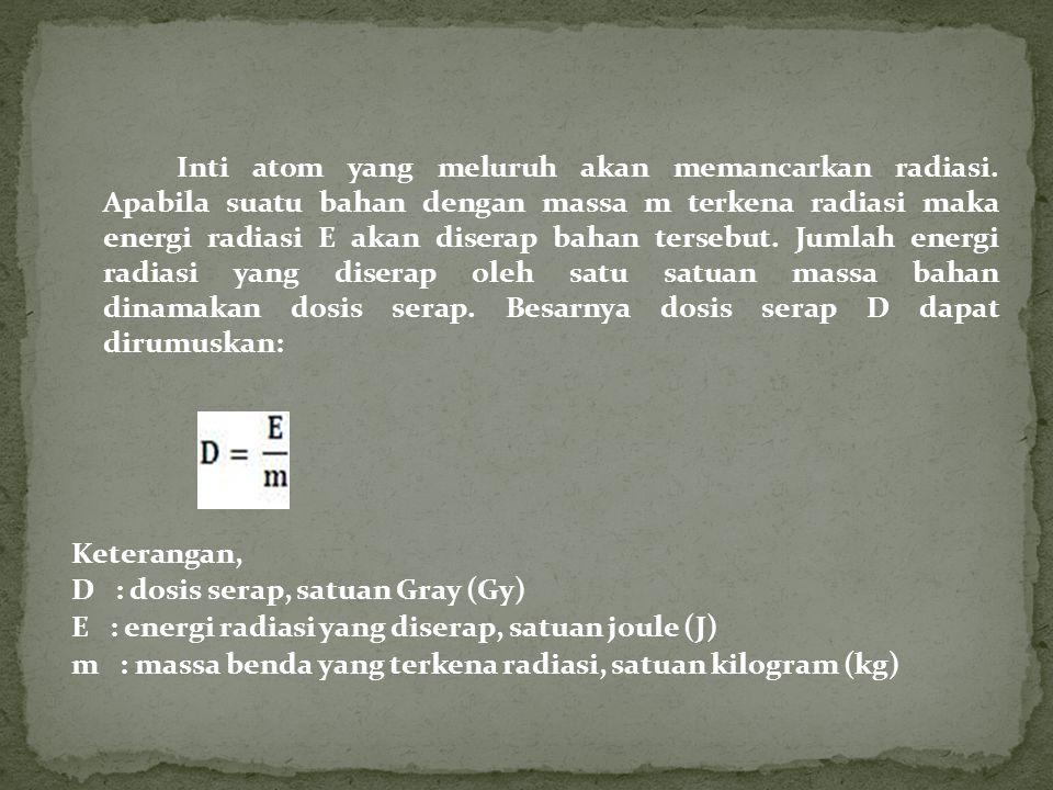 D : dosis serap, satuan Gray (Gy)