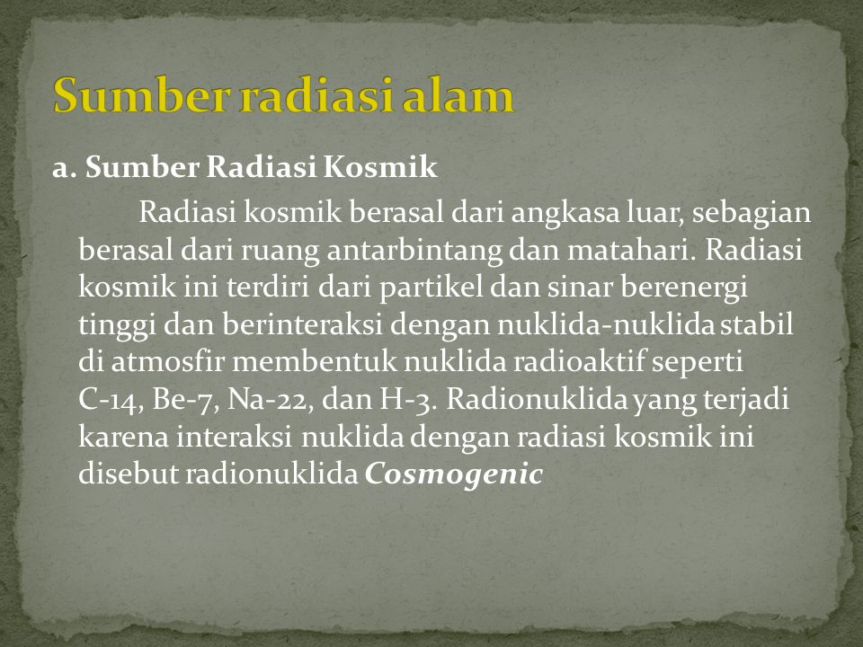 Sumber radiasi alam