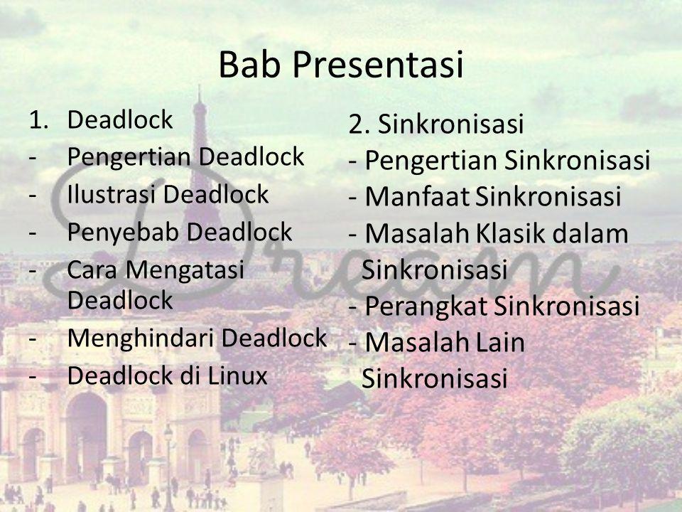 Bab Presentasi 2. Sinkronisasi Pengertian Sinkronisasi