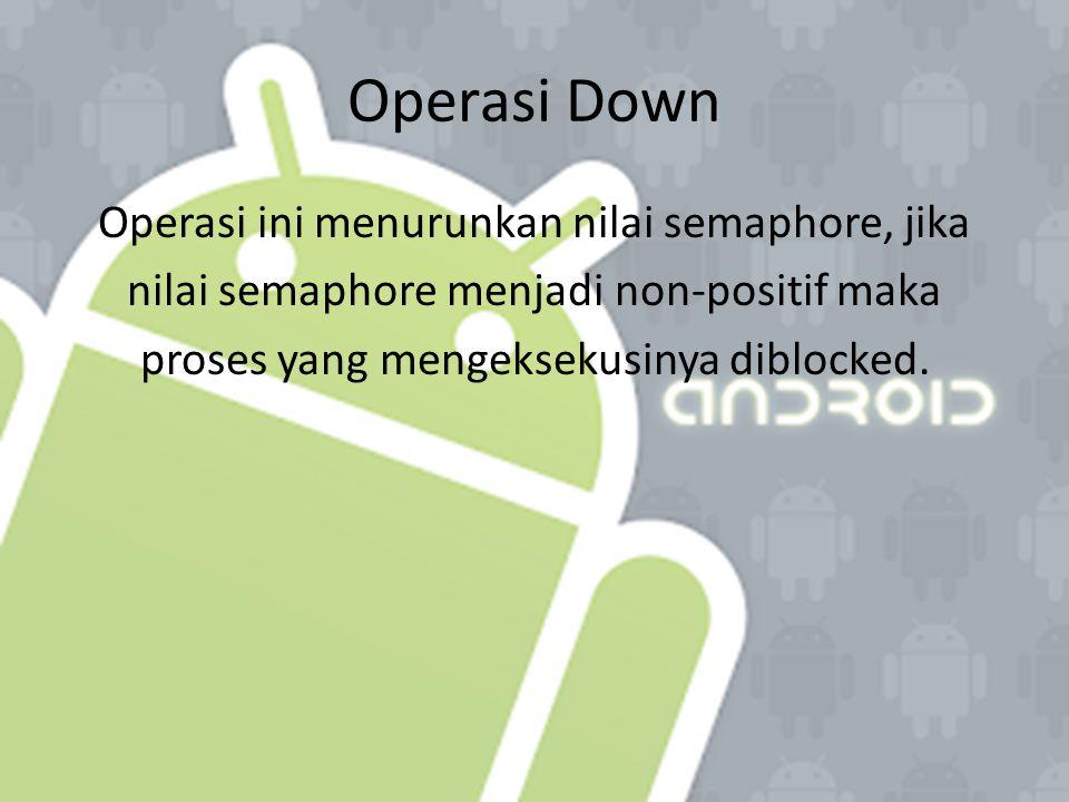 Operasi Down Operasi ini menurunkan nilai semaphore, jika nilai semaphore menjadi non-positif maka proses yang mengeksekusinya diblocked.