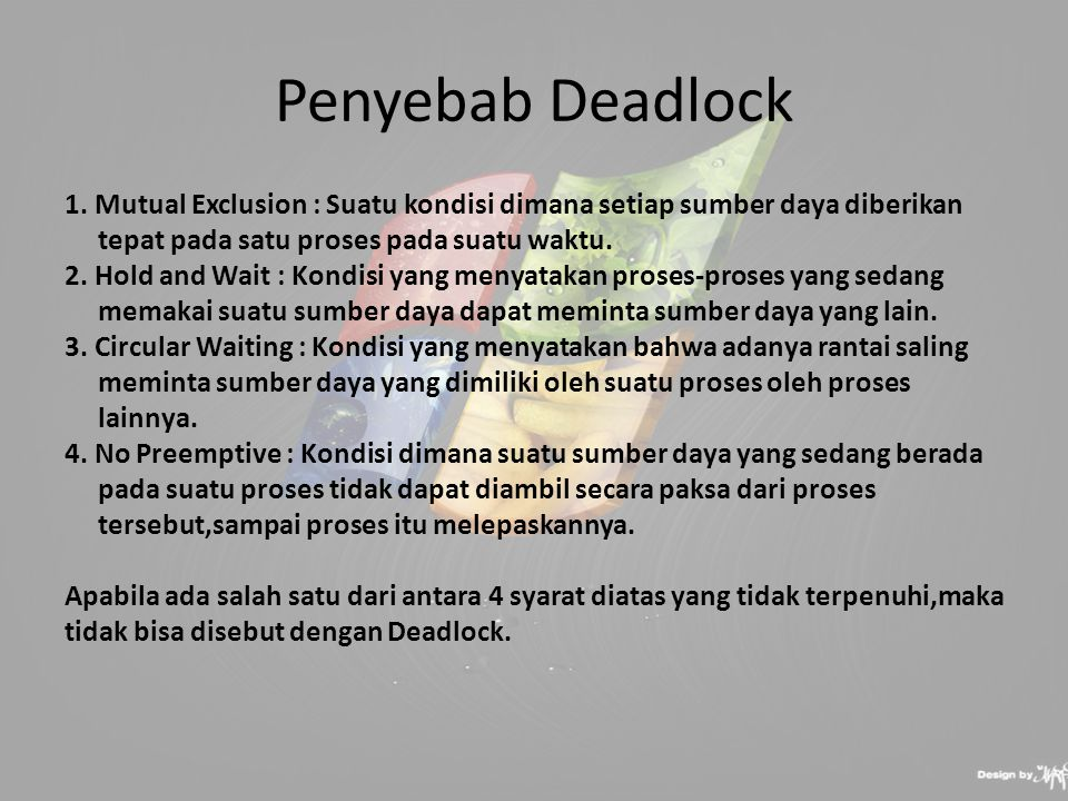 Penyebab Deadlock