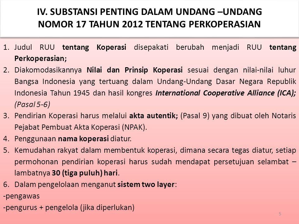 IV. SUBSTANSI PENTING DALAM UNDANG –UNDANG NOMOR 17 TAHUN 2012 TENTANG PERKOPERASIAN