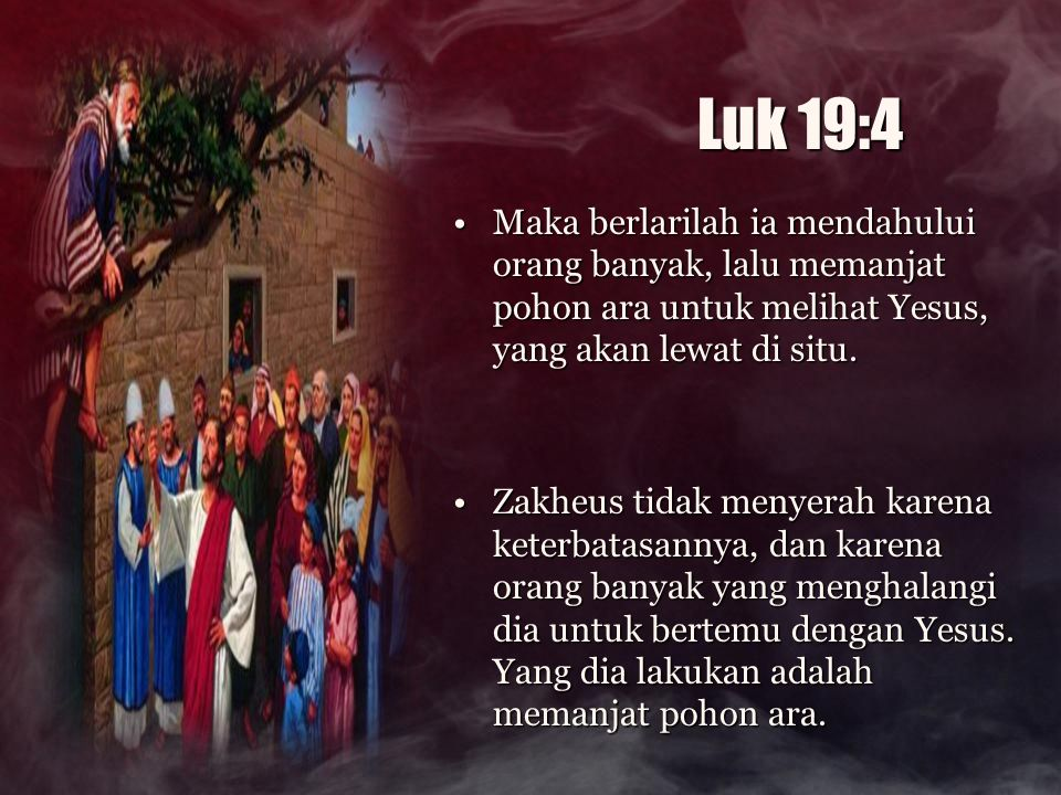 Luk 19:4 Maka berlarilah ia mendahului orang banyak, lalu memanjat pohon ara untuk melihat Yesus, yang akan lewat di situ.