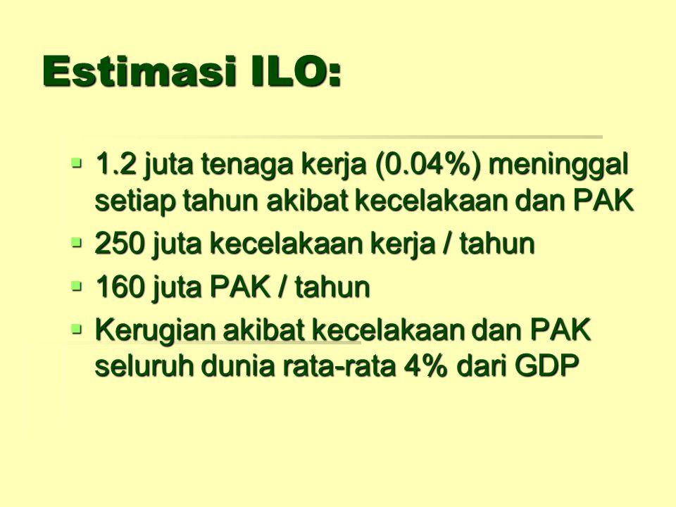 Estimasi ILO: 1.2 juta tenaga kerja (0.04%) meninggal setiap tahun akibat kecelakaan dan PAK. 250 juta kecelakaan kerja / tahun.