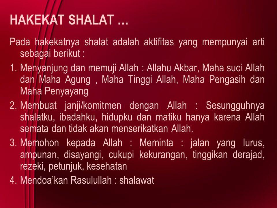 HAKEKAT SHALAT … Pada hakekatnya shalat adalah aktifitas yang mempunyai arti sebagai berikut :