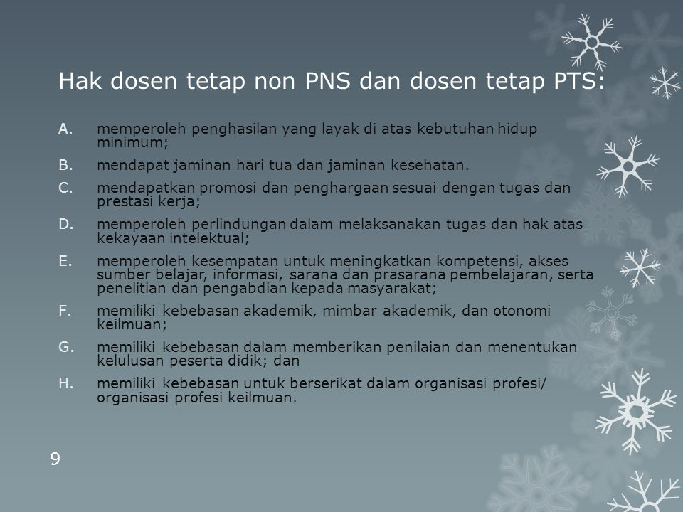 Hak dosen tetap non PNS dan dosen tetap PTS: