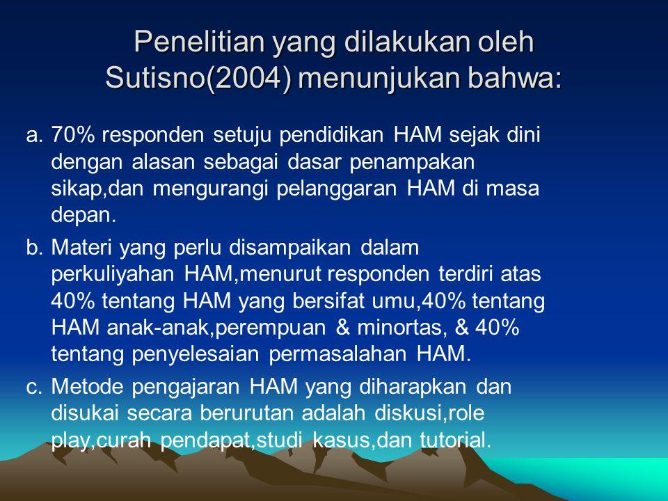 Penelitian yang dilakukan oleh Sutisno(2004) menunjukan bahwa: