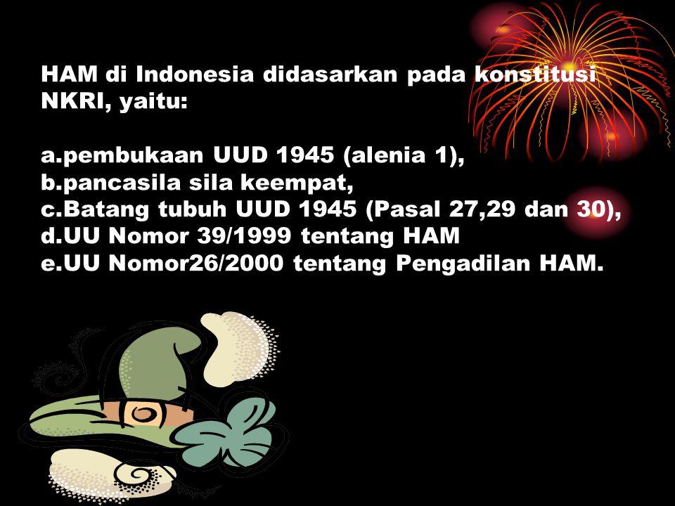 HAM di Indonesia didasarkan pada konstitusi NKRI, yaitu: a
