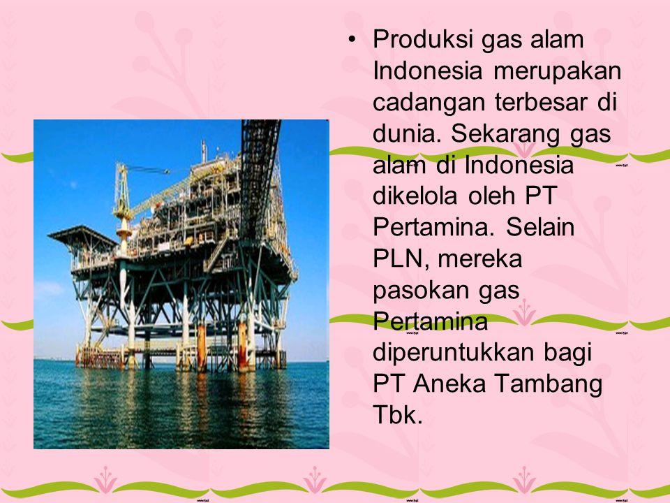 Produksi gas alam Indonesia merupakan cadangan terbesar di dunia