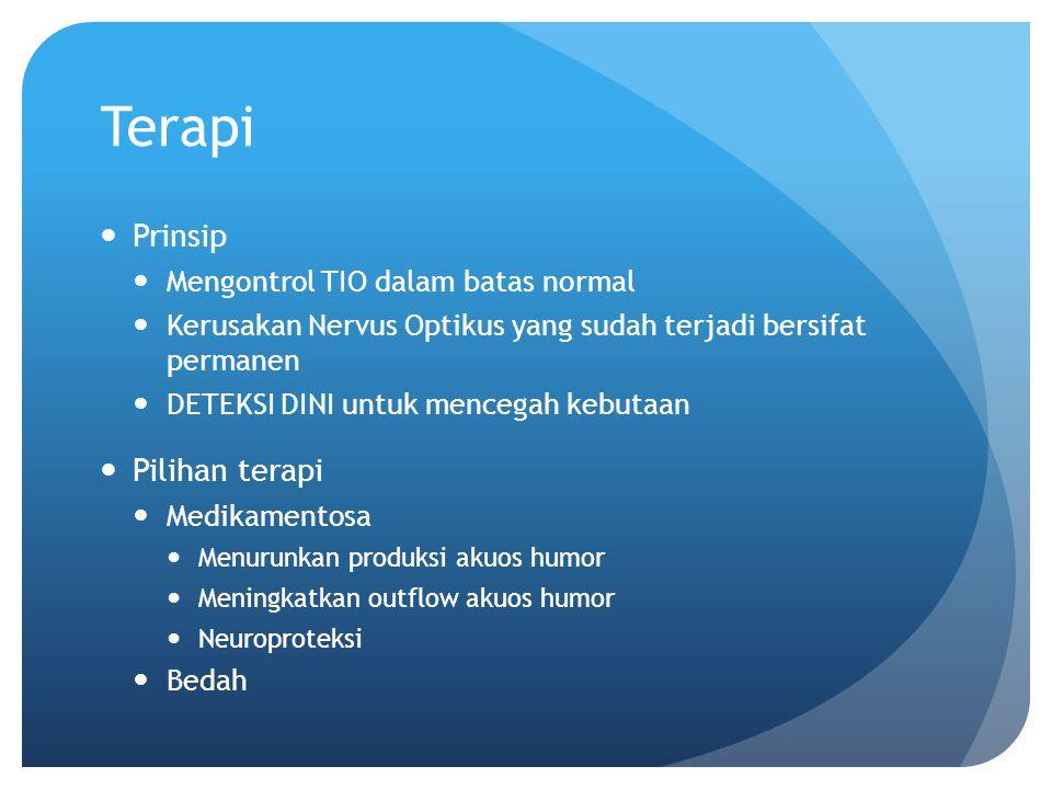 Terapi Prinsip Pilihan terapi Mengontrol TIO dalam batas normal